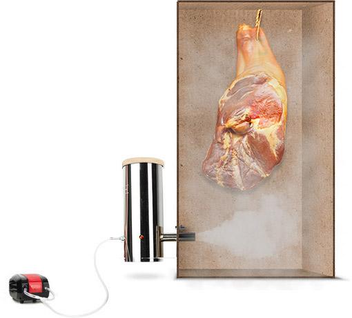 копчение при помощи дымогенератора